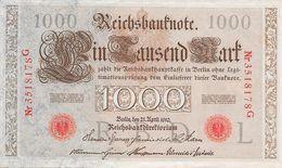 1000 Mark - 21 Avril 1910 - Reichsbanknote - [ 2] 1871-1918 : German Empire