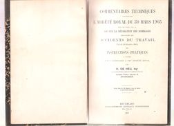 COMMENTAIRES TECHNIQUES CONCERNANT L'ARRÊTE ROYAL DU 30 MARS 1905 - Accidents Du Travail - 1917 - Recht