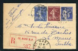 France - Entier Postal Type Paix En Recommandé + Complément ( Recto Et Verso ) Du Mans Pour Le Mans En 1938 - Ref JJ 57 - Postal Stamped Stationery