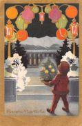 """D6171  """"BUON NATALE - BAMBINO CON PICCOLO ABETE - CANDELINE - LAMPIONCINI LUMINOSI""""  CART  SPED 1935 - Altri"""