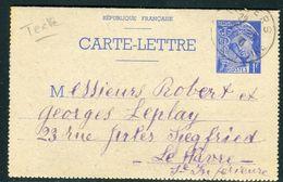 France - Entier Postal Type Mercure De Angers Pour Le Havre En 1940 - Ref JJ 58 - Entiers Postaux