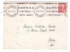 """SUPERBE Flamme De CANNES """" DU SOLEIL TOUTE L ' ANNEE VILLE DES FLEURS SPORTS ELEGANTS """" , Gandon; 1950 Sur Lettre - Marcophilie (Lettres)"""