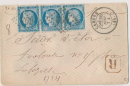 N°60Ca - 25c Bleu - Type II - 2 Ex Tenant à Type III - Obl. GC 693 6 S/L Rec - Cahors - 30/11/74 - TB - Postmark Collection (Covers)