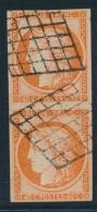 """N°5e - Paire Verticale Dt """"4 Retouché"""" - Tenant à Normal - Obl. Grille - Signé JF Brun - TB - 1849-1850 Ceres"""