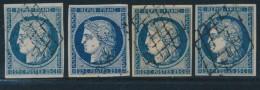 N°4a (x4 Ex) - Ts Bleu Foncé - 3 Obl. Grille 1 PC - TB - 1849-1850 Ceres
