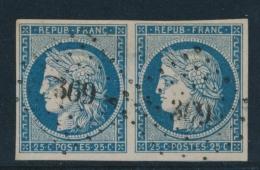 N°4a - Paire - Obl. PC 369 - Léger Clair - Asp SUP - 1849-1850 Ceres