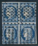 N°4a - 25c Bleu Foncé - Bloc De 4 - Obl Gros Points - TB - 1849-1850 Ceres