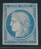 N°4 - 25c Bleu - Petites Marges - Rare - Certif - B - 1849-1850 Ceres