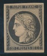 N°3h - 20c Noir Intense S/teinté - Comme ** - Signé Calves/LEMAIRE - TB - 1849-1850 Ceres
