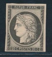 N°3 F - 20c Noir - Réimpression - TB - 1849-1850 Ceres
