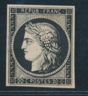 N°3f - 20c Noir - Réimpression Anneau Lune - TB - 1849-1850 Ceres