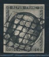 N°3c - 20c Gris Noir - Signé Calves - TB - 1849-1850 Ceres
