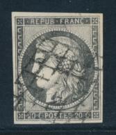 N°3c - 20c Gris Noir - TB - 1849-1850 Ceres