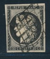 N°3a - 20cnoir S/blanc - Obl. Grille - TB - 1849-1850 Ceres