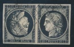 N°3c - 20c Noir S/blanc - Paire - Tête Bêche - Certif - Rare - TB - 1849-1850 Ceres