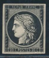 N°3a - 20c Noir S/blanc - Signé CHEVALIER - TB - 1849-1850 Ceres