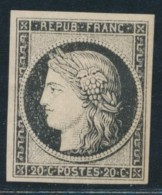 N°3a - 20c Noir S/blanc - TB - 1849-1850 Ceres