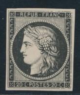 N°3a - 20c Noir S/blanc - Certif. - TB - 1849-1850 Ceres