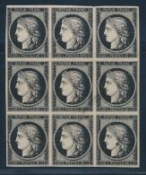 N°3a - 20c Noir S/blanc - Bloc De 9 - TB - 1849-1850 Ceres