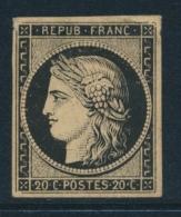 N°3 - 20c Noir - Gomme Moyenne -TB - 1849-1850 Ceres