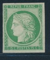 N°2c - 15c Vert - Réimpression - TB - 1849-1850 Ceres