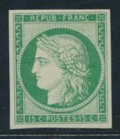 N°2c - 15c Vert - Réimpression Luxe - TB - 1849-1850 Ceres