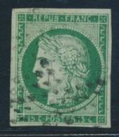 N°2b - 15c Vert Foncé - Signé A. Brun/JAMET - TB - 1849-1850 Ceres
