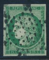 N°2b - 15c Vert Foncé - Signé JF Brun - TB - 1849-1850 Ceres