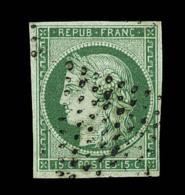 N°2b - 15c Vert Foncé - Obl. Étoile - Signé Scheller - TB - 1849-1850 Ceres