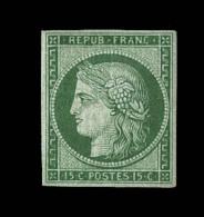 N°2b - 15c Vert Très Foncé - Réparé - Asp. Sup. Signé - 1849-1850 Ceres