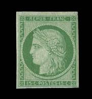 N°2a - 15c Vert Clair - Replaqué - Certif. Scheller - Asp. TB - 1849-1850 Ceres