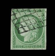 N°2 - 15c Vert - Signé JF Brun/A. Brun - TB - 1849-1850 Ceres