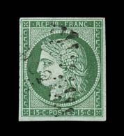 N°2 - 15c Vert - Signé Scheller - TB - 1849-1850 Ceres