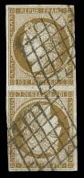 N°1e - 10cbistre Verdâtre - Tête Bêche - Obl. Grille - Tangent Au Filet S/1cm - Mais Néanmo - 1849-1850 Ceres