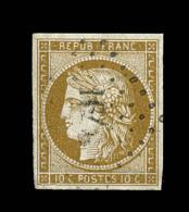 N°1b - 10c Bistre Verdâtre - Signé CHEVALIER - TB - 1849-1850 Ceres
