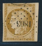 N°1b - BDF - Bistre Verdâtre - Obl. PC 1803 - 1 Filet En Biseau - 1849-1850 Ceres
