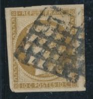 N°1 - Grdes Marges Dt 1 Voisin - Signé Brun - Grille Lourde Sinon TB - 1849-1850 Ceres