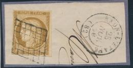 N°1 - Obl. Grille + T15 Raon L'Etape - 28/11/50 - TB - 1849-1850 Ceres