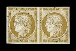 N°1 - 10c Bistre - Paire Horiz. - Obl. PC - TB - 1849-1850 Ceres