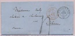 N°1201 - Suisse St Louis 3 - Rouge - Unterseen - 1861 - Pr Colmar - Postmark Collection (Covers)