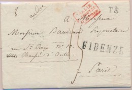 N°150 - Italie Par Le Pont De Beauvoisin (rouge) De Firenze Pour Paris - TB - Postmark Collection (Covers)