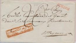 """""""Administ. Du Dept Du Rhin Et Moselle"""" (rouge) S/pli De Coblence Pour Mayence - B/TB - Postmark Collection (Covers)"""