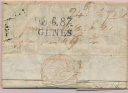 Déb. 87 Gênes - Au Verso D'une LAC De Fontainebleau - 28/11/1808 - B/TB - Postmark Collection (Covers)