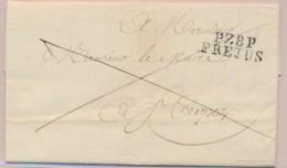P78P FREJUS - S/pli De 1821 - Pr St Tropez - TB - Postmark Collection (Covers)
