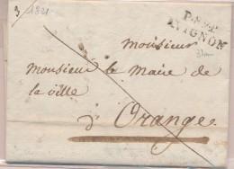 P.89.P AVIGNON - Nov 1821 - Lettre Autographe De M. COMTE (Philosophe Français) - TB - Postmark Collection (Covers)