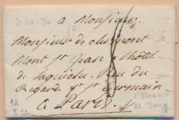 St Benoît De Joux - (à Sec) - Len N°1A - 21/10/1780 Pr Paris - Ind. 22 - Auverso Joli Sceau à Ar - Postmark Collection (Covers)