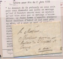 Pli De CUEURON - 2/11/1720 - Pr Aix - Demande De Mariage - TB - Postmark Collection (Covers)