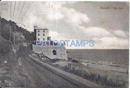 74995 ITALY ALASSIO SAVONA VILLA RESI TRAIN TREN CIRCULATED TO FRANCE POSTAL POSTCARD - Italia
