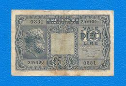 10 Lire  GIOVE  - Luogotenenza Biglietti Di Stato -1944 - Firme: Bolaffi / Simoneschi / Giovinco. - [ 1] …-1946 : Kingdom