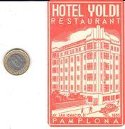 ETIQUETA DE HOTEL  - HOTEL YOLDI  -PAMPLONA - Hotel Labels